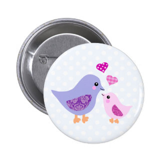 Cute pink & purple mother and child birds 6 cm round badge