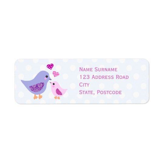 Cute pink & purple mother and child birds return address label