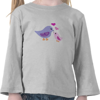 Cute pink & purple mother and child birds t shirts