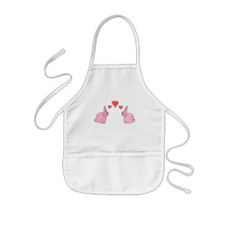 Cute Pink Rabbits with Red Love Hearts Aprons
