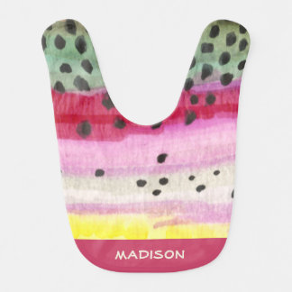 Cute Pink Rainbow Trout Personalized Bib