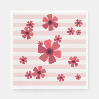 Cute Pink Retro Flowers on Pink Stripes Paper Napkin