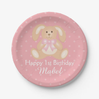 Cute Pink Ribbon Bunny Rabbit First Birthday Party Paper Plate
