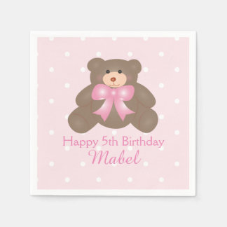 Cute Pink Ribbon Teddy Bear Girl Birthday Party Disposable Serviette