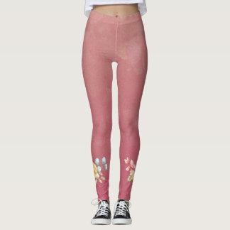 Cute Pink Rose Leggings