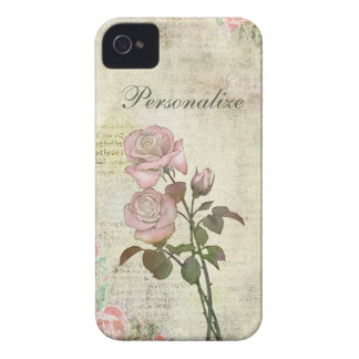 Cute Pink Roses on Vintage Background iPhone 4 Case-Mate Case