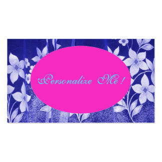Cute Pink Save-the-Date Floral Girly Blue/White Pack Of Standard Business Cards
