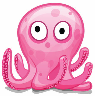 cute pink silly octopus photo sculpture decoration