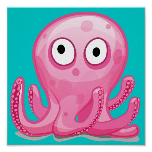 cute pink silly octopus print