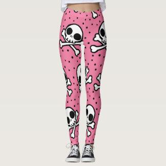 Cute Pink Skull And Crossbones Pattern Leggings