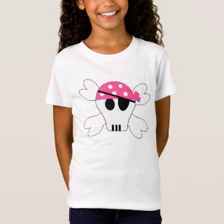 Cute Pink Skull and Crossbones Pirate Girls Tee