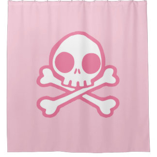 Cute Pink Skull And Crossbones Shower Curtain