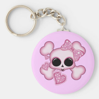 Cute Pink Skull Basic Round Button Key Ring