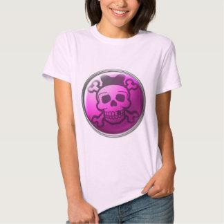 Cute Pink Skull Button T Shirts