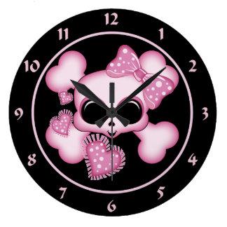 Cute Pink Skull Clock