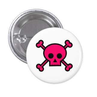 Cute Pink Skull & Crossbones Button