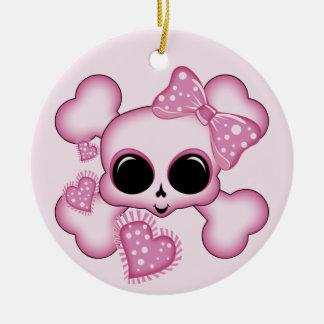 Cute Pink Skull Round Ceramic Decoration