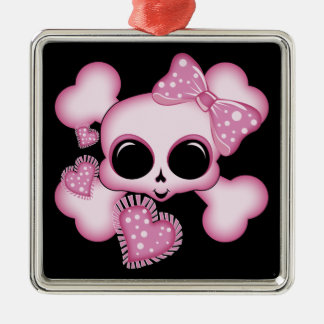 Cute Pink Skull Silver-Colored Square Decoration