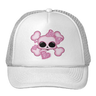 Cute Pink Skull Mesh Hat
