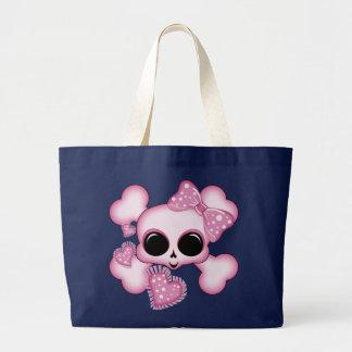 Cute Pink Skull Large Tote Bag