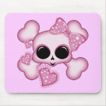 Cute Pink Skull Mouse Pad