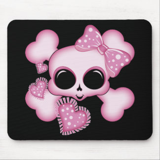 Cute Pink Skull Mouse Pads