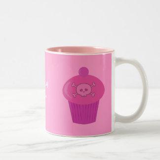 Cute Pink Skulls & Cupcakes Personalized Coffee Mug