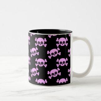 Cute Pink Skulls Two-Tone Coffee Mug