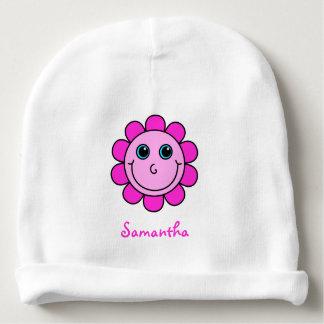 Cute Pink Smiley Face Flower Monogram Baby Beanie