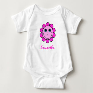 Cute Pink Smiley Face Flower Monogram Baby Bodysuit