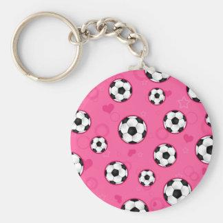 Cute Pink Soccer Star Print Key Ring