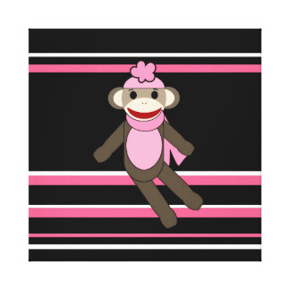 Cute Pink Sock Monkey Girl Flower Hat Stripes Stretched Canvas Print