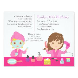 Cute Pink Spa Birthday Party Invitation