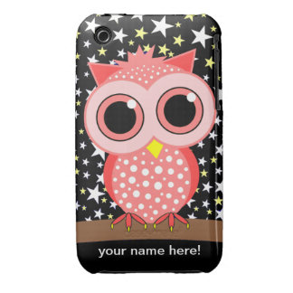 cute pink spotted owl iPhone 3 case