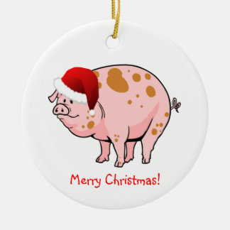 Cute Pink Spotted Pig with Santa Hat Christmas Round Ceramic Decoration