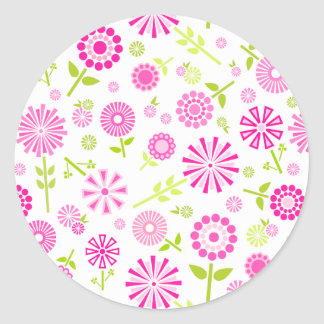 Cute pink spring flowers classic round sticker