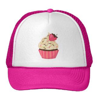 Cute Pink Sprinkles Strawberry Cupcake Cap