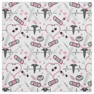 Cute Pink Stethoscope Nurse | Doctor EKG Pattern Fabric