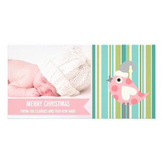 Cute Pink Stripe Baby First Christmas Photo Card