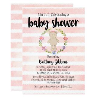 Cute Pink Striped Teddy Bear Baby Shower Card