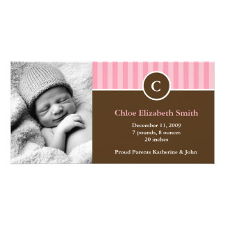 Cute Pink Stripes Baby Birth Announcements Personalized Photo Card