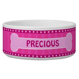 Cute Pink Stripes Bone and Paws Large Dog Bowl