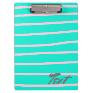 cute pink stripes pattern on a mint background clipboard