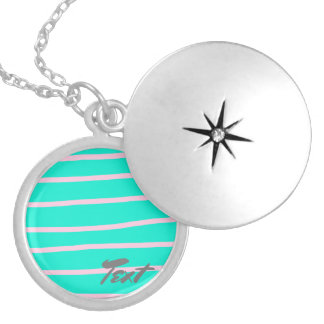 cute pink stripes pattern on a mint background locket necklace
