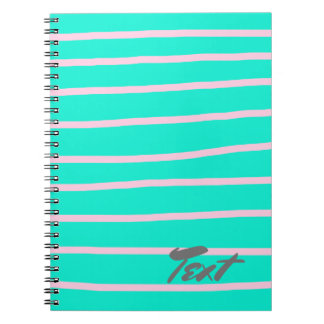 cute pink stripes pattern on a mint background notebooks