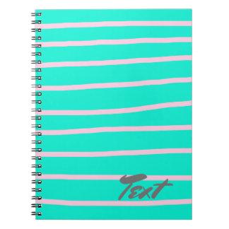cute pink stripes pattern on a mint background notebooks