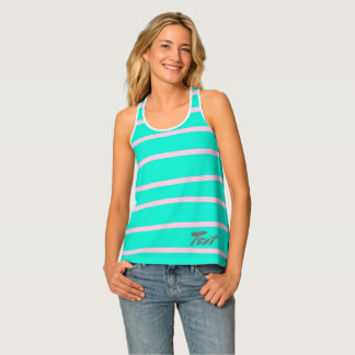 cute pink stripes pattern on a mint background singlet