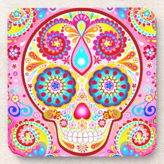 Cute Pink Sugar Skull Coaster Set of 6 - Colorful!