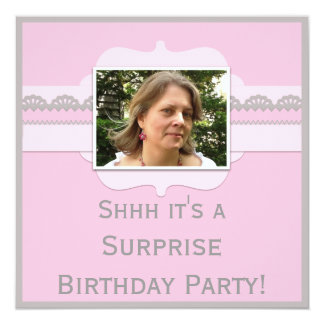 Cute Pink Surprise Birthday Party Add Your Photo Card