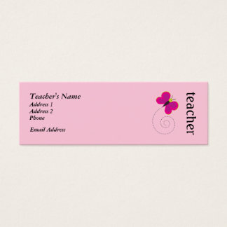 Cute Pink Teacher Personal Cards